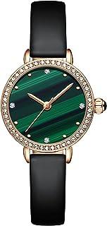 ساعات للنساء من الماس الطبيعي ، ساعة رسمية أنيقة رقيقة مصغرة للسيدات مع عرض تناظري 3 يد وحركة كوارتز يابانية (اللون: C)