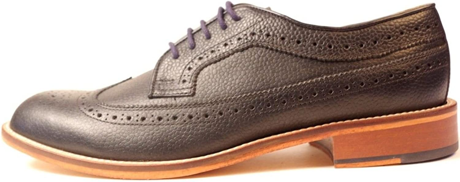 H W Trickett Made in England Windsor Black Leather Mens Brogue shoes