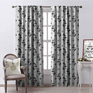 GloriaJohnson Abstract Shading Insulated Curtain Fall Tree Branches Monochrome Image Striped Background Autumn Foliage Soundproof Shade W52 x L63 Inch Charcoal Grey Pale Grey