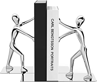 MROCO Decorative Bookends Heavy Duty Zinc Alloy Man Book End, Non-skid Bookend, Metal Book Ends for Shelves, Book Support,...