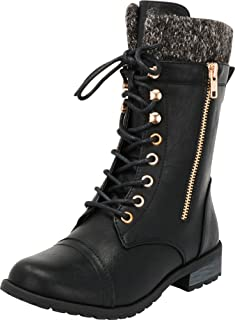 Women's Combat Military Round Toe Lace Up Knit Sweater Boot