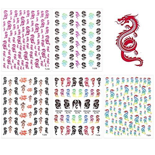 Phoetya 5 Blatt Dragon Nail Art Aufkleber, 3D selbstklebende Dragon Nail Art Aufkleber Mode Dragon Pattern Nagel Aufkleber Bunte Dragon Transfer Aufkleber für DIY Nail Art Zubehör Dekorationen