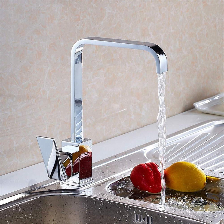 PajCzh Küchenarmaturen Waschtischarmaturen Küchenwasserhahn Spüle Becken über Gegenbecken Heies Und Kaltes Wasser Wasserhahn Quadratischen Flachrohr Kann Gedreht Werden