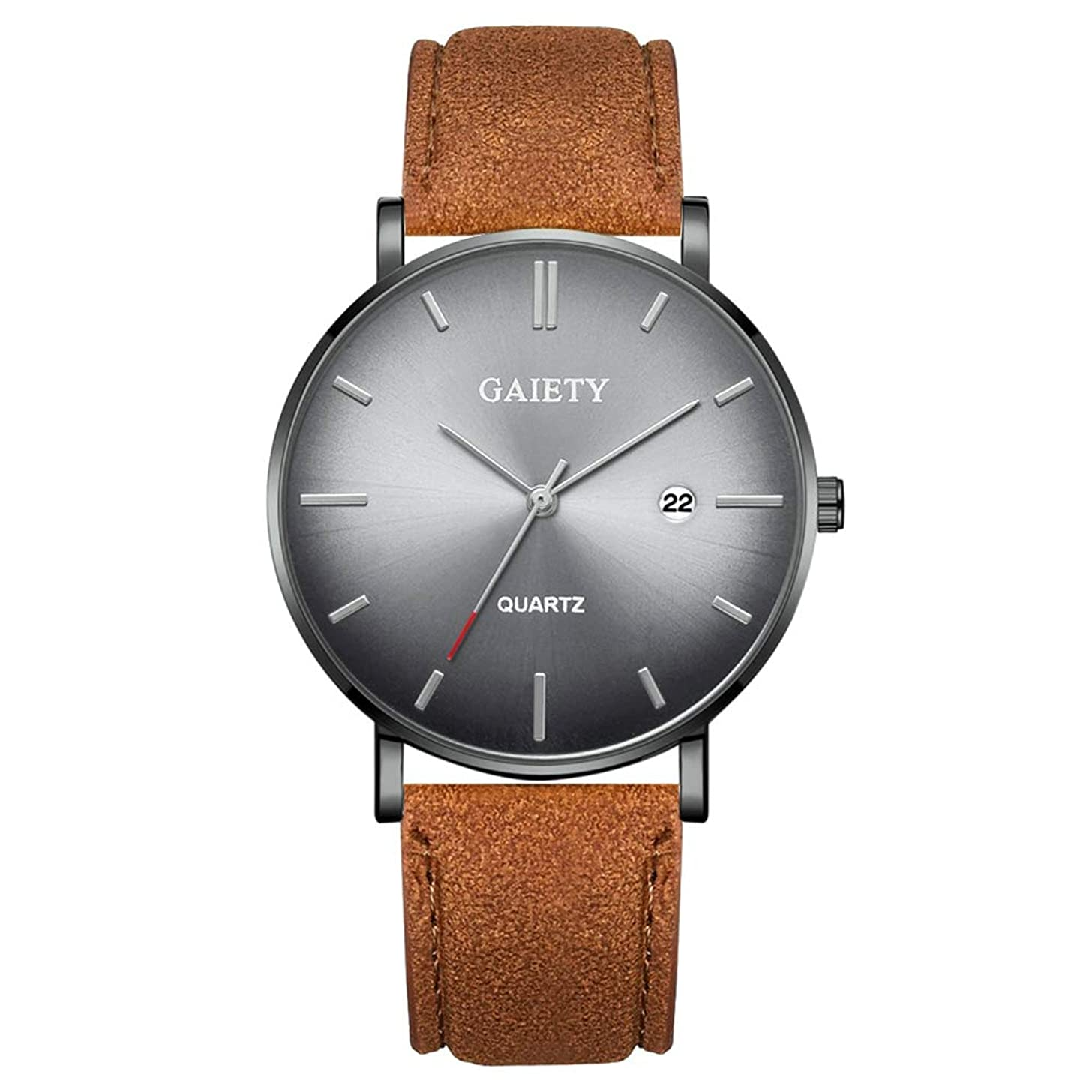 lightclub Simple Men No Number Analog Big Round Dial Faux Leather Band Quartz Wrist Watch for Women Men 10#