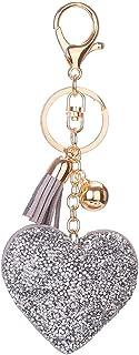Luxurious Rhinestone Heart Keychain Leather Tassel Keychain Women Bag Handbag Key Ring Car Key Holder Pendant Jewelry Deli...