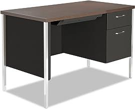 Alera SD4524BW Single Pedestal Steel Desk, Metal Desk, 45-1/4w X 24d X 29-1/2h, Walnut/Black