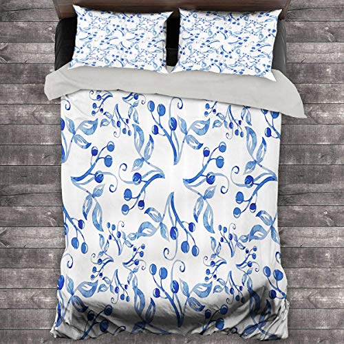 Miles Ralph Traditional House Decor 3-Piece Duvet Cover Watercolors Ornate Cherry Stalks Leaves Motif Spring Inspired Image King Duvet Cover 104'x89' inch Blue White