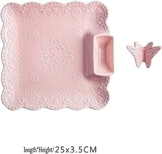 Japan Style Ceramic Tableware Vinegar Dish Dumplings Home Dish Plates Sushi Bread Plates Send Chopstick Holder,Pink(Square)