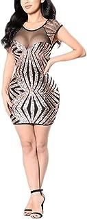 COODIO Women Sexy Dress Elegant Mesh Stitching Sequins Slim Skirt Retro Performance Dress