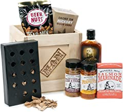 Man Crates Hickory Grilling Crate – Includes Cast Iron Smoker Box, Dried Hickory Wood Chips and Beer Nuts – with Miner's Mix Rubs, Marinade and Sauce – Great Gifts for Men