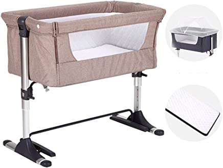 Bedside Cot For Babies Adjustable Height Files Side Sleeping Crib Moses Basket  Comes With Snap-on Tension Band  Khaki  Tibetan-cyan