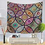 DOTBUY Mandala Tapisserie Tentures Murales, Mandala Bohemian Hippie Hanging Pattern Indian Psychedelic Tapisserie Tentures Murales (Grand (150 x 200cm), Monde de la Couleur)