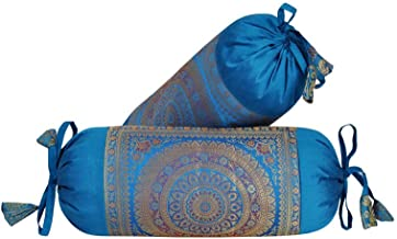 Lal Haveli Rajasthani Handmade Designer Silk Fabric Bolster Pillow Cushion Covers Set of 2 Pc 18 x 8 Inch