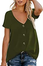 OFEFAN Womens Button Down V Neck Strappy Tank Tops Loose Casual Sleeveless Shirts Blouses