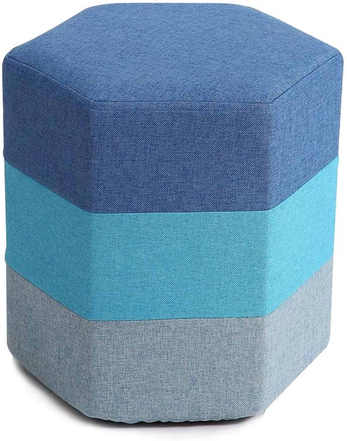 LifeX Creative Rainbow Sofa Stool 3 Floor Mixed colors shoes Bench Fabric Seat Pier Coffee Table Stool Adult Footstool Washable Hexagonal Dining Stool Kids Bed End Stool (color   bluee)