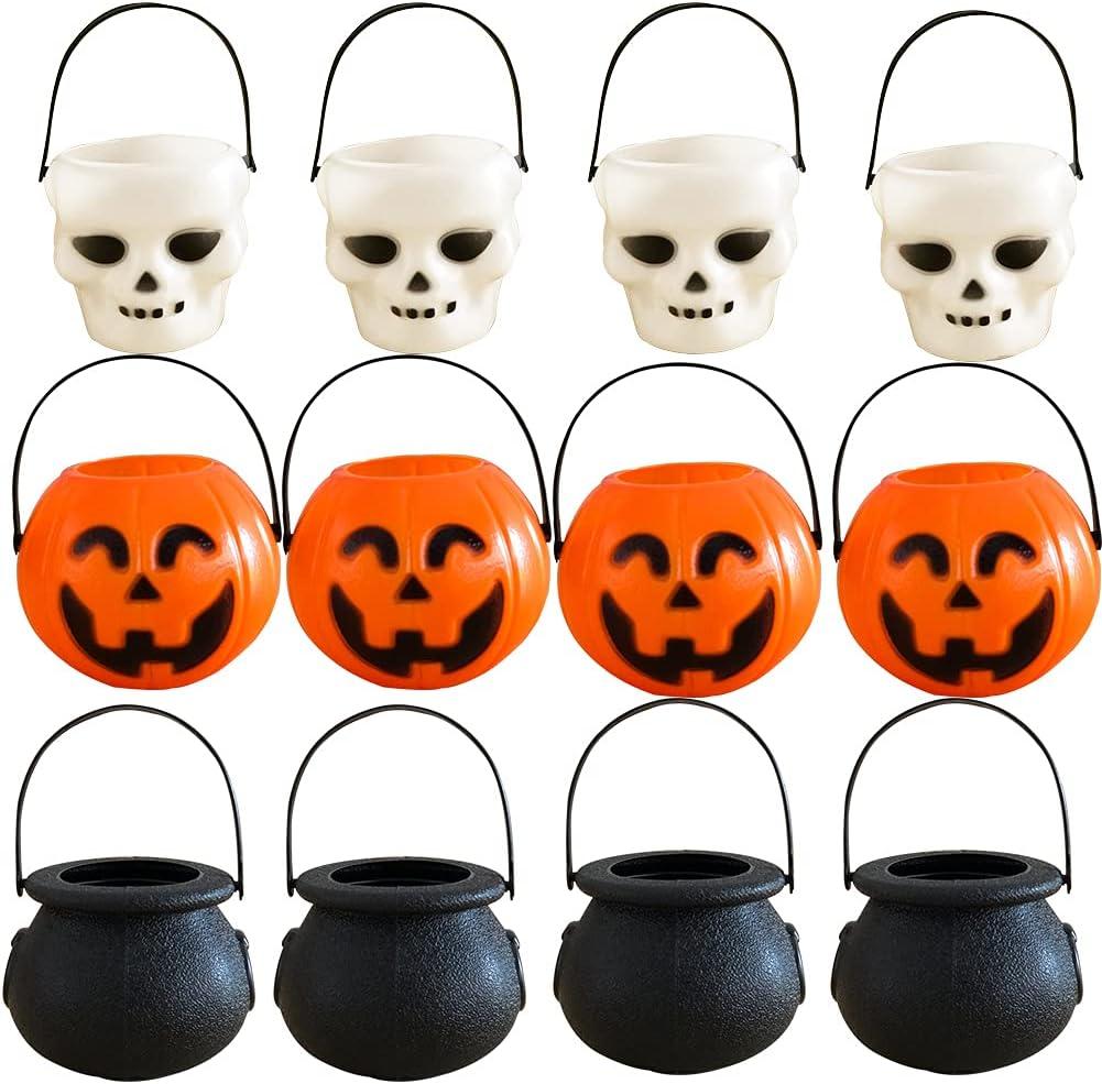 12 Pcs Mini Halloween Pumpkin Candy Bowl Bucket Lightweight Trick Or Treat Pots Wizard Ghost Buckets for Halloween Party