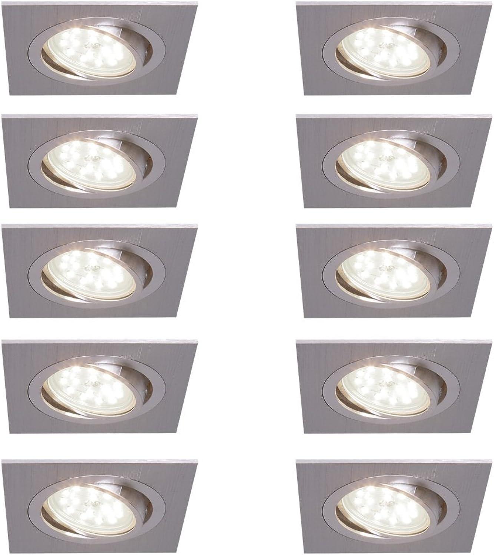 Decken-Einbaustrahler 10er Set  Einbauleuchten LED 5W neutralwei  Deckenstrahler alufarben eckig  Einbauspot flach  Einbaulampen schwenkbar  Deckenspot modern  Spots + LED-Leuchtmittel