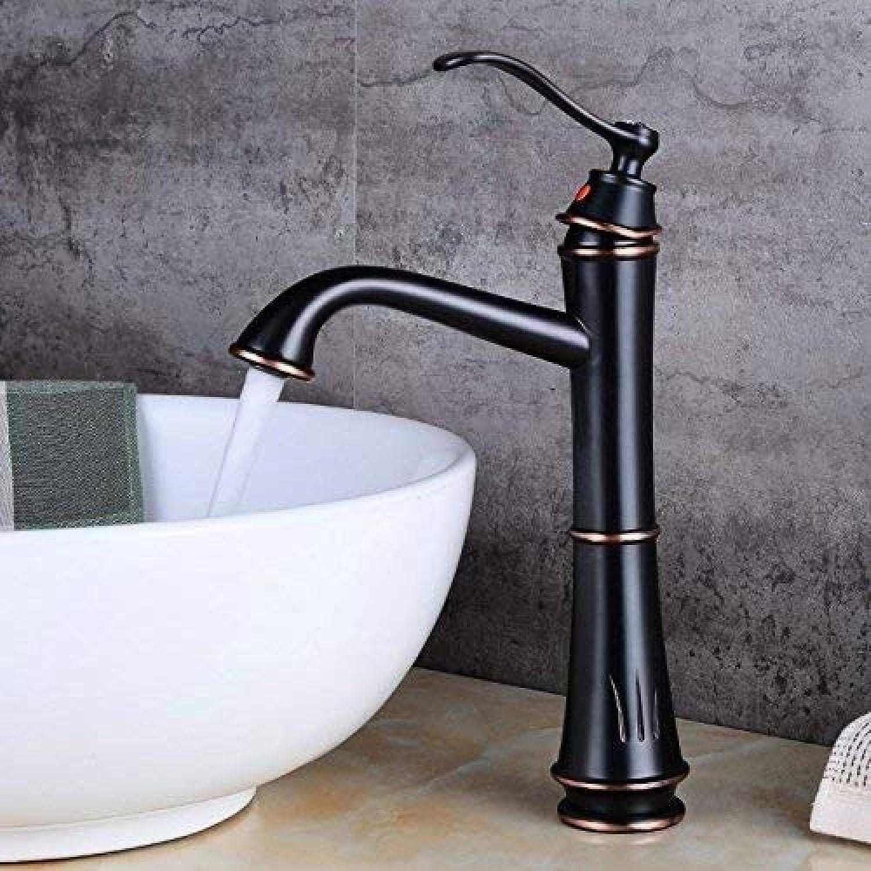 Waschbecken Messing Retro Messing Wasserhahn antiken schwarzen Griff mit Waschtisch