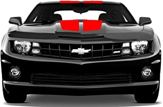 9 Inch Double Center with Hood Taper Vinyl Rally Racing Stripes, Fits Chevy Camaro, Red