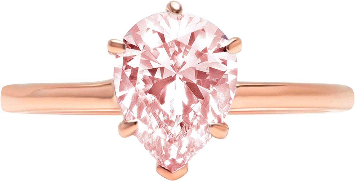 1.9ct Brilliant Pear Cut Solitaire Pink Simulated Diamond Cubic Zirconia Ideal VVS1 D 6-Prong Engagement Wedding Bridal Promise Anniversary Ring Solid 14k Rose Gold for Women