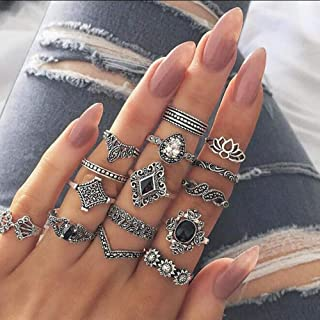 Chargances 15PC Vintage Women Mid Ring Set Flower Crown Rhinestone Joint Knuckle Nail Ring Set for Women Girls Gift Bohe R...