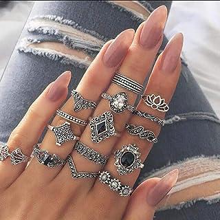 مجموعة خاتم شارجنسيز الكلاسيكية للنساء، مجموعة خواتم منتصف الإصبع شكل زهرة تاج حجر الراين لمفصل الإصبع