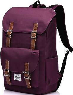 Vintage School Backpack for Women,Vaschy Water Resistant Laptop Backpack Burgundy