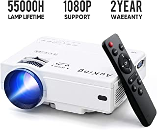 Mini Projector 2019 Upgraded Portable Video-Projector,55000 Hours Multimedia Home Theater Movie Projector,Compatible with Full HD 1080P HDMI,VGA,USB,AV,Laptop,Smartphone