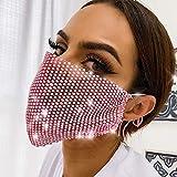 Yheakne Cubierta facial de boda para mujer, transpirable, reutilizable, lavable, máscara de malla de diamantes de imitación, máscara facial ajustable brillante para disfraz de moda (rosa)
