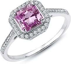 Lafonn Classic Sterling Silver Platinum Plated Lassire Simulated Diamond Pink Sapphire Ring (1.62 CTTW)