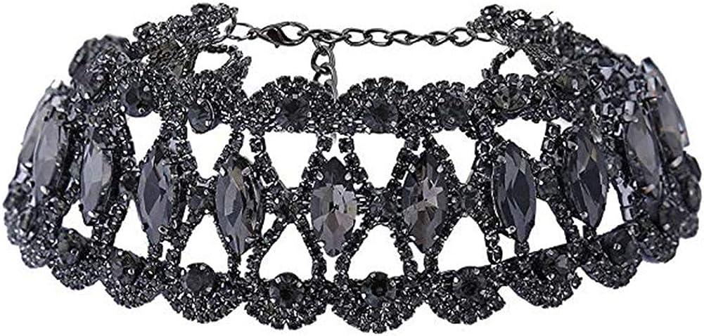 NABROJ Crystal Necklace Diamond Rhinestone Choker Neck Chain Fashion Wedding Jewelry Queen Costume Accessory for Women and Girls 4 Colors