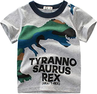 Anself Boy Short Sleeve Cotton T-Shirt Round Neck Tops Summer Kids Clothes Cartoon Dinosaur Camouflage Printing Shirt Tee ...