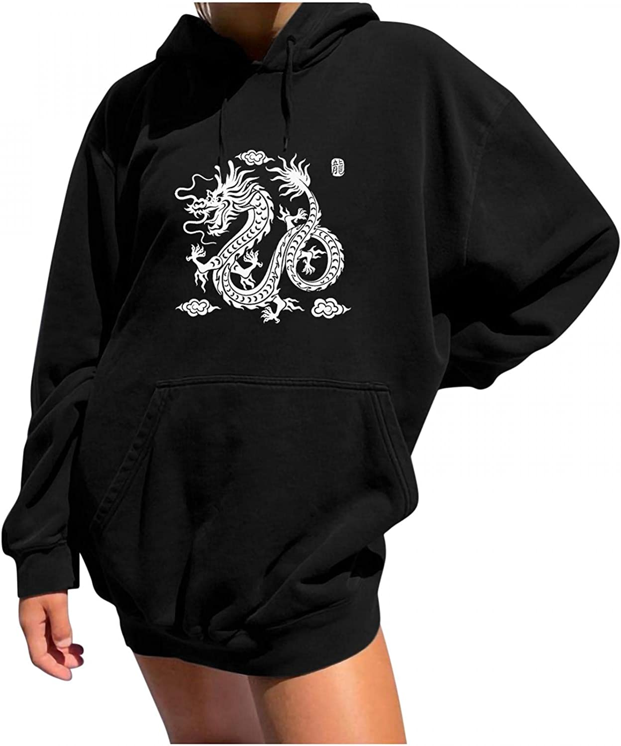 Womens Hoodies Pullover Oversized Fall Casual Sweatshirts Long Sleeve Blouse Retro Printed Tunic