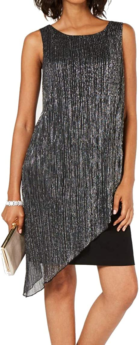 Connected Apparel Womens Metallic Ribbed Knit Cocktail Dress