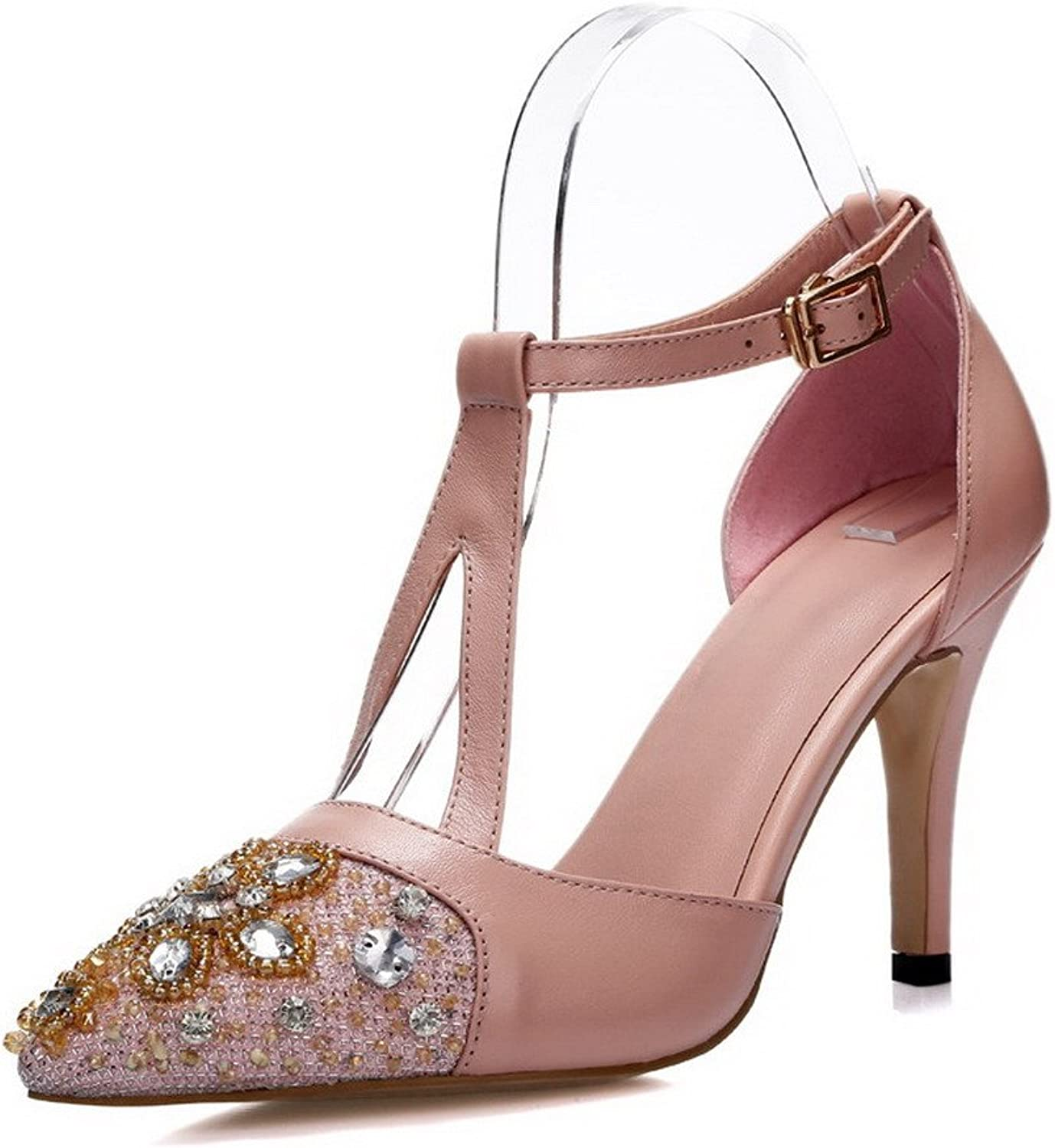 AllhqFashion Women's Closed Pointed Toe Cow Leather Buckle High Heels Sandals with Glass Diamond
