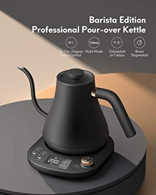 Willsence Gooseneck Kettle Temperature Control, Pour Over Electric Kettle for Coffee and Tea, 100% Stainless Steel Inner, 120