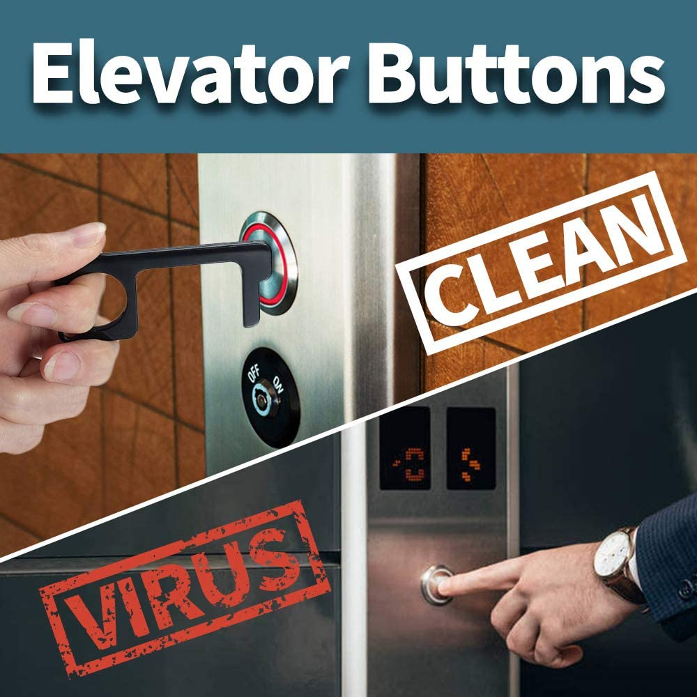 Black 1 MMI PATWAY 1pcs Stylus Keychain Tool Non Contact Door Opener Reusable Portable Healthy Handheld Keychain Tool Avoid Dirty Environmental