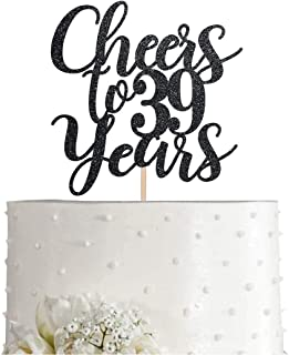 39 Black Glitter Happy 39th Birthday Cake Topper, Cheers to 39 Years Party Cake Topper Decorations, Supplies