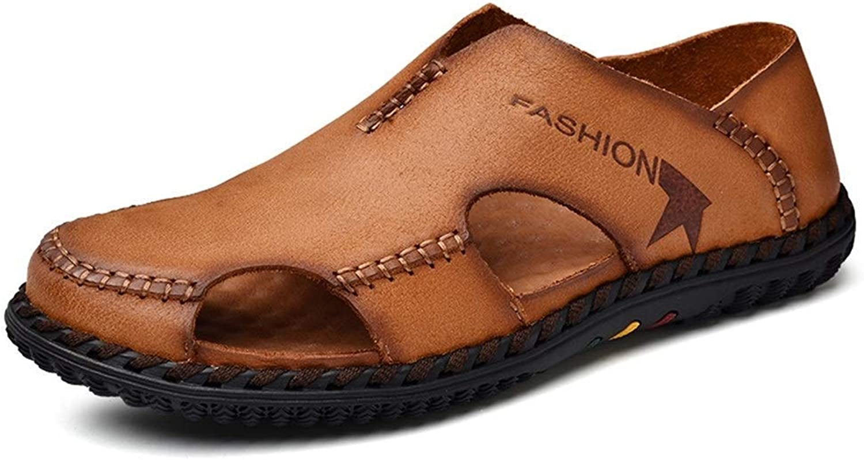 Herren Sommersandalen, Outdoor Wasserschuhe Slip On Style OX Leder Handtailor Antikollisions Zehensandalen für Herren (Farbe  Braun, Größe  5.5 UK)