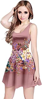 CowCow Womens Vintage Roses Floral Flowers Pattern Sleeveless Dress, XS-5XL