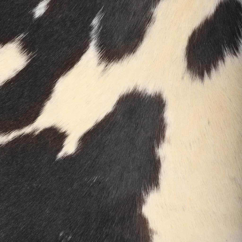 vidaXL Chaise Cuir Véritable de Chèvre Marron/Blanc Forme de Papillon Meuble Noir/Blanc