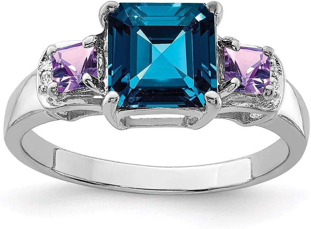 925 Fort Worth Mall Sterling Silver London Blue Purple Ba Diamond Amethyst Very popular Topaz