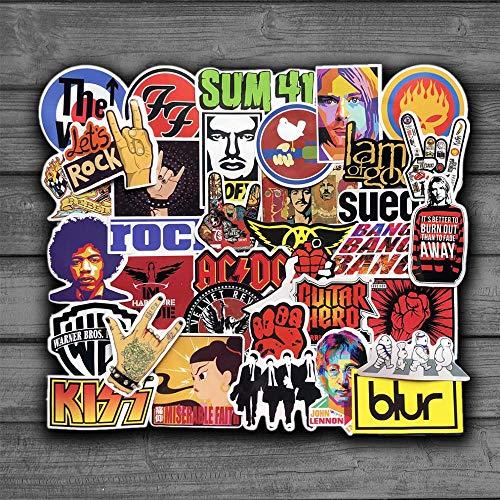 JUNZE Pegatinas de música Rock Retro para Guitarra, Motocicleta, Coche, Equipaje, portátil, Bicicleta, Nevera, monopatín, Pegatinas de Anime para portátil, 52 uds/Paquete