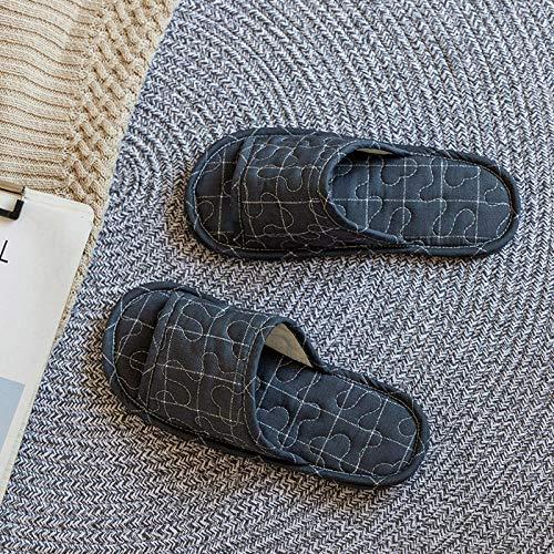 Espuma de Memoria Invierno Pantuflas,Zapatillas de Pareja de Tela Acolchada, Piso de casa Zapatos de algodón Antideslizantes-Negro 4_36-38,Medio Paquete con Zapatillas de Algod