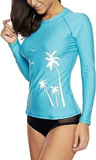 Women Long Sleeve Rash Guard UPF 50+ Swim Shirt Athletic Swimsuit Tops