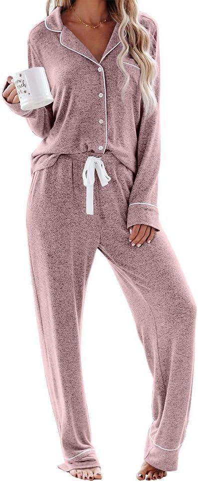 NA Ladies Pyjamas Set Women Pyjamas Set Long Sleeve Button Down Comfy Soft Full Length Top & Lace Up Bottoms Sleepwear Nightwear Lounge Wear Sets for All Seasons,Pink,L