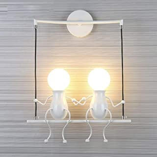 FSTH Creativo Lámparas de Pared Simple Fashion Doll Swing Lámpara de Pared Moderna Apliques de Pared Metal Lámpara de Pared para Dormitorio, Escalera, Pasillo, Restaurante, Cocina E27 (Blanco-2)