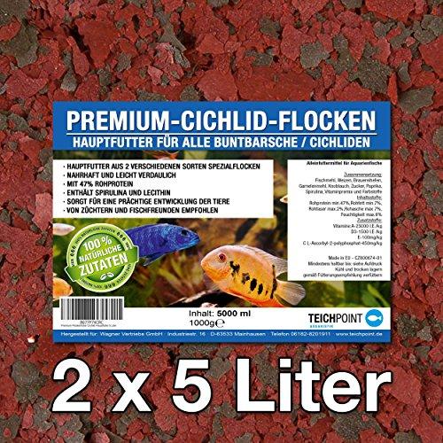 Teichpoint Premium Cichlid Futter Flocken, Hauptfutter für alle Buntbarsche und Cichliden (10 Liter)