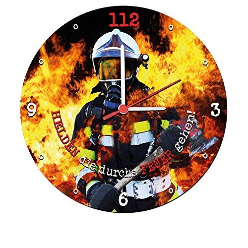 Stylische Wand-Uhr | geräuscharm Quarz-Uhrwerk | Helden die durchs Feuer gehen | 30 cm Feuerwehr-Mann | Flammen Feuer | hochwertig leise Motiv cool Atemschutz | Geschenk Ehrungen Beförderungen |