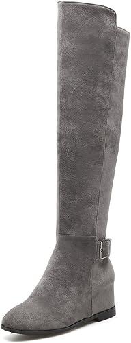 SKY-Maria Femmes Hautes Chutes Grande Taille Augmenter Les Chaussures Plus De Cachemire Bottes De Neige Mode Fermeture à Glissière Plus De Cachemire TAILLE 32-46